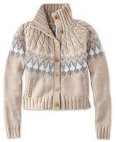 L.L. Bean Signature Monroe Wool Cardigan Sweater, Fair Isle