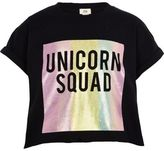 River Island Girls black unicorn print cropped T-shirt