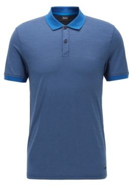 BOSS Slub-cotton polo shirt with striped collar and cuffs