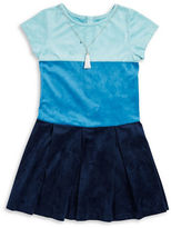 Rare Editions Girls 2-6x Colorblocked Suede Dress and Necklace Set