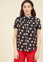 ModCloth Migrate-est Inspiration Button-Up Top in Bumblebees in XS