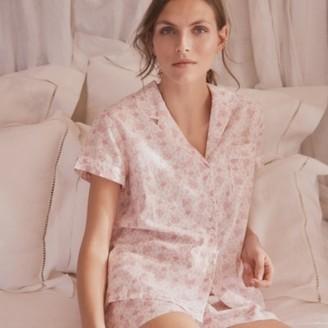 The White Company Cotton Paisley-Print Pyjama Set, Pink, Large