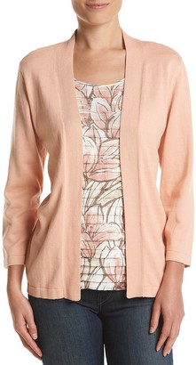 Alfred Dunner Women's Petite Tiered Leaves Twofer Sweater