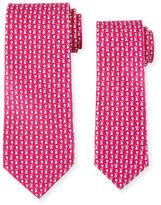 Salvatore Ferragamo Father & Son Bunny with Balloon Silk Tie Set, Pink