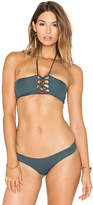 Bettinis Lace Up Bandeau Top in Green. - size M (also in S,XS)
