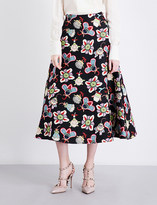Valentino Floral-print wool and silk-blend skirt