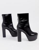 Asos Design DESIGN Embers platform ankle boots in black patent