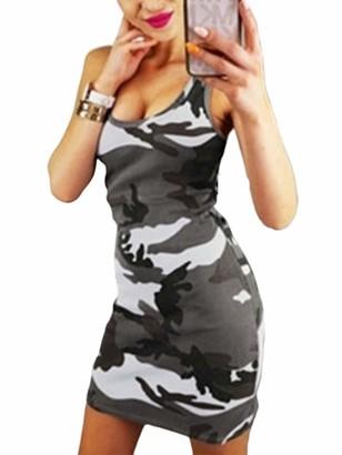 Hertsen Plus Size Women's Camouflage Bodycon Dress Sleeveless Party Short Mini Dress (Pink XXL)