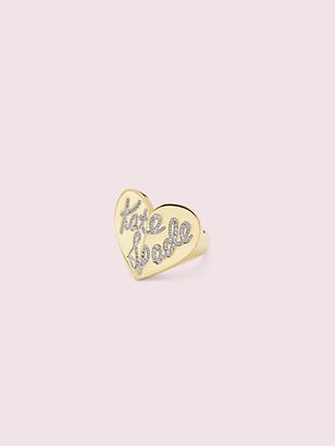 Kate Spade Heritage Spade Pave Script Heart Ring