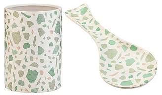 Amici Home Terrazzo White/Green 10 Inch Length Ceramic Spoon Rest & Utensil Holder, Set of 2