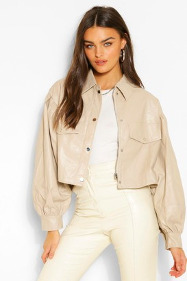 boohoo Balloon Sleeve Faux Leather Shacket