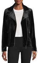 Brandon Thomas Velvet Moto Zip-Front Jacket