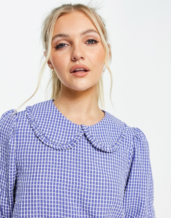Thumbnail for your product : New Look check collar blouse in blue