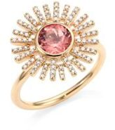 Astley Clarke Rising Sun Diamond, Pink Tourmaline & 14K Yellow Gold Ring