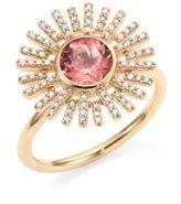 Astley Clarke Rising Sun Diamond, Pink Tourmaline & 14K Yellow Gold Ring