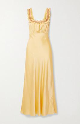 DÔEN Nola Embroidered Silk-satin Maxi Dress - Pastel yellow