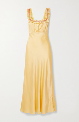 DÔEN Nola Embroidered Silk-satin Maxi Dress