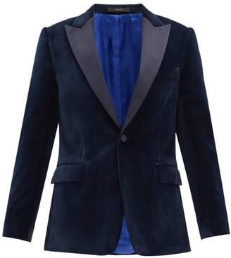 Paul Smith Single-breasted Satin-lapel Velvet Soho-fit Jacket - Navy