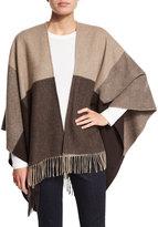Neiman Marcus Two-Tone Wool Ruana Shawl, Natural/Dark Brown