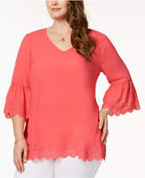NY Collection Plus Size Eyelet-Trim Top