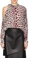 Robert Rodriguez Women's Leopard-Print Silk Cold-Shoulder Blouse