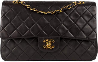 Chanel Classic Double Flap Quilted Lambskin Gold-tone Medium Black