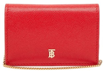 Burberry Chain-strap Pebbled-leather Wallet - Red