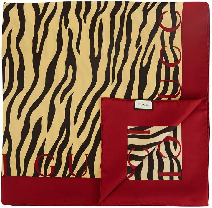 Gucci Zebra print silk scarf