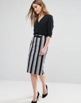 Oasis Woven Stripe Pencil Skirt