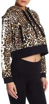 HAPPINESS Leopard Crop Fleece Hoodie