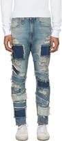 R 13 Blue Patchwork Drop Jeans