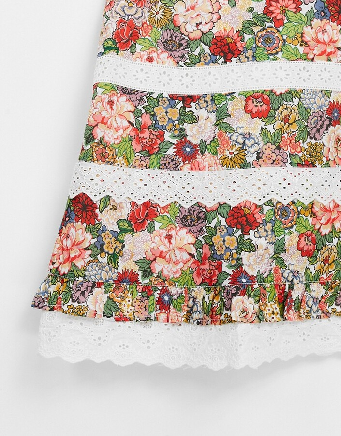 Thumbnail for your product : Hope & Ivy Made with Liberty Fabric contrast lace mini dress in floral