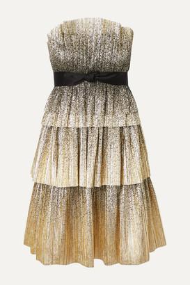 Jenny Packham Lita Strapless Satin-trimmed Tiered Plisse-tulle Dress - Gold