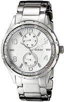 GUESS Women's U0442L1 Mid-Size Silver-Tone Multi-Function Watch