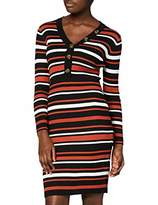 Yumi Knitted Stripe Body Con Dress with Button