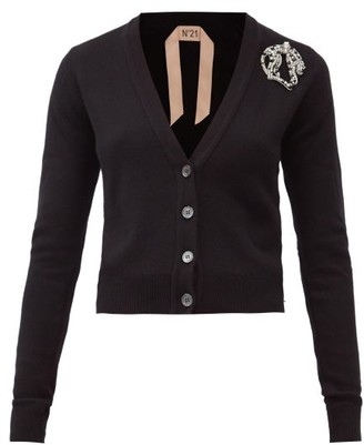 No.21 No. 21 - Crystal-brooch Cashmere Cardigan - Black