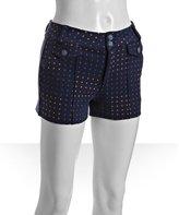 twilight blue cotton polka dot print knit shorts