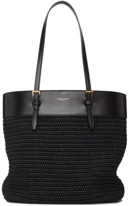 Saint Laurent Black Raffia Mini East/West Shopping Tote