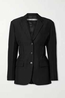 Alexander Wang Ruched Wool-blend Twill Blazer - Black
