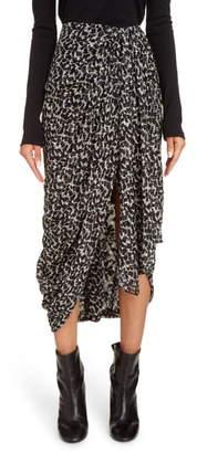 Isabel Marant Floral Metallic Silk Blend Drape Midi Skirt