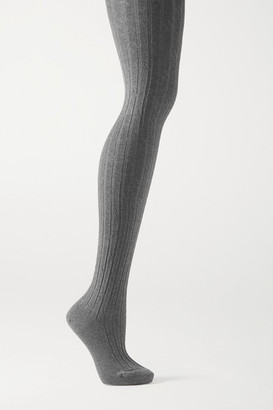 Falke Clean Allure Ribbed Cotton-blend Tights - Gray