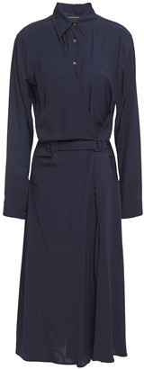 Cédric Charlier Belted Wrap-effect Twill Midi Shirt Dress