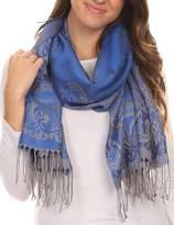 Sakkas 16115 - Kendall Long Extra Wide Floral Paisley Patterned Pashmina Shawl / Scarf - OS