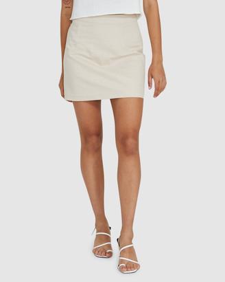 Subtitled Syble Linen Mini Skirt