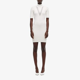 Cushnie Mock Neck Long Sleeved Knit Mini Dress with Sheer (White) Women's Clothing