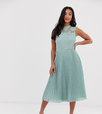 Asos DESIGN Petite high neck sleeveless pleated lace midi dress-Green