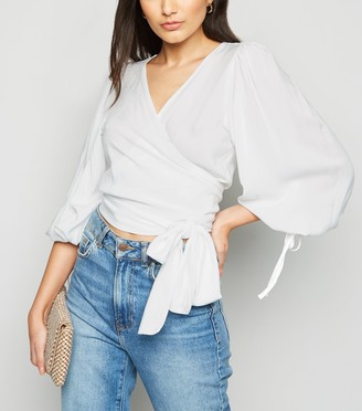 New Look NA-KD Puff Sleeve Wrap Blouse