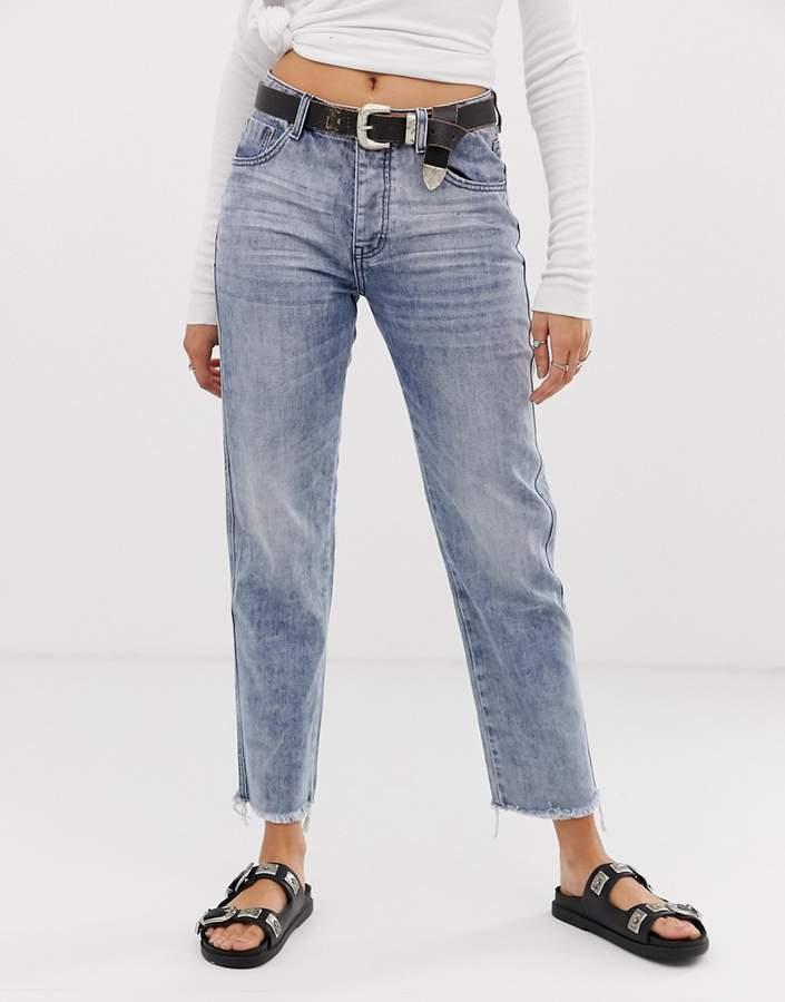 One Teaspoon Truckers straight cut frayed hem jeans
