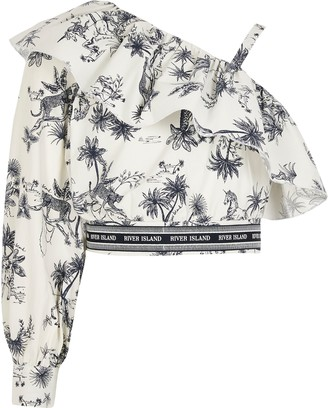 River Island Girls Blue printed one sleeve cropped top
