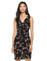 Chaps Women's Faux wrap Sleevless Floral Print Dress
